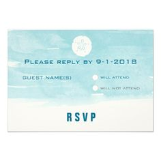 Watercolor Sand Dollar Response Card Personalized Invite