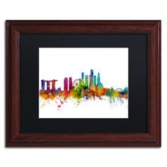 Michael Tompsett 'Singapore Skyline II' Matte, Wood Framed Wall Art