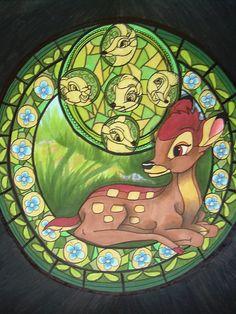 Afbeelding van http://th00.deviantart.net/fs71/PRE/i/2012/192/9/c/bambi_stained_glass_window_by_blossom525-d56vkzl.jpg.