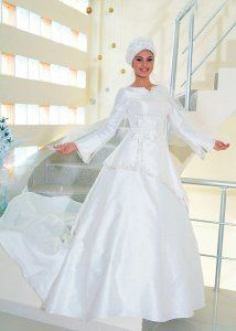 White Taffeta A-line Long Sleeves Muslim Wedding Dress - $177.79 : Muslim Bridal Shop, Muslim Wedding Shop, Muslim Wedding Dresses & Muslim Bridal Gowns from Muslim Bridal Shops and Muslim Wedding Shops