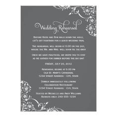 #weddinginvitation #weddinginvitations (Wedding Rehearsal | Charcoal Gray Scroll Card) #Creative #Design #Dinner #Elegant #Floral #Formal #Poem #Rehearsal #Scroll #Swirl #Verse #Wedding #Wording is available on Custom Unique Wedding Invitations  store  http://ift.tt/2aMR8YN