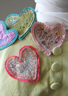 embroidered hearts - Google Search