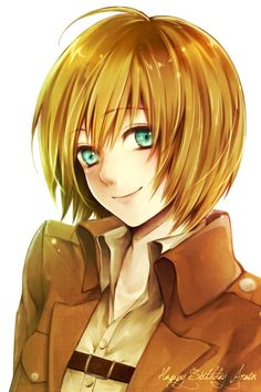Armin Arlert, he looks so girly here...and it's unnatural to see him smile. All you AoT fans know what I'm talking about...he's just not Armin if he isn't A: covered in blood, B: screaming his head off or C: all the above<<That comment