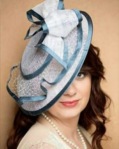 White sinamay coulis hat with veiling and dusty blue silk trim. www.liftedmillinery.com Spring Hats, Spring Summer 2015, Dusty Blue, Fascinators, Photo And Video, Silk, Collection, Instagram, Videos