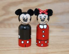 This listing is for a Mickey and Minnie Mouse Peg Doll 2.375 tall (also comes in 3.5). They are painted using acryIic paint and then coated with a