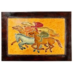 Decorative embossed leather panel depicting a horse race. The design comes from a painting by Angel Lopez-Obrero, founder of the Meryan workshop, in 1955.