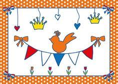 Ansichtkaart Studio Holland Feest Slinger #Koningsdag #oranje #Nederland #Holland #Postcrossing #feest #slinger #Koning
