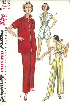 Simplicity 4312 Vintage 50s Sewing Pattern by studioGpatterns