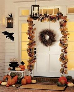 Pottery barn style: Halloween front porch