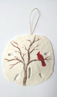 Acrylic hand painted Cardinal ornament measures 3 1/2 in.