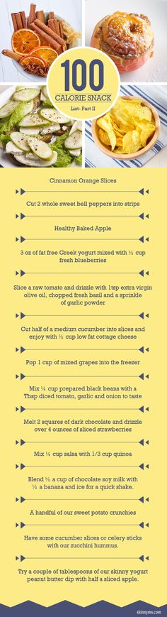 More 100 calorie snacks!  There are lots of vegetarian ideas :) #healthy #snack #ideas