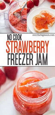This No-Cook Strawberry Freezer Jam is the tastiest homemade freezer jam that can be made in less than 30 minutes and uses less sugar than other recipes! From overthebigmoon.com! #freezerjam #strawberryfreezerjam #strawberryjam #toastandjam Freezer Jam Recipes, Fast Dinner Recipes, Slow Cooker Recipes, Breakfast Recipes, Eat Breakfast, Easy Banana Bread, Banana Bread Recipes, Strawberry Freezer Jam, Strawberry Jam