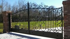 Wrought Iron Custom Estate Driveway Gates with Bonus Walk Gate | eBay