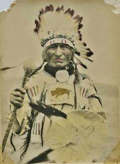 Native American Indian - Old Photos Tatanka Wajila (aka One Buffalo Bull, aka One Bull, aka Oscar One Bull), the son of Makes Room For Him and Wiyaka Waste Win (aka Good Feather Woman), and the husband of the Hunkpapa woman known as Olivia Scarlet Whirlwind Woman - Hunkpapa/Mniconjou - circa 1935