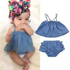 Details about Newborn Infant Baby Girls Off Shoulder Ruffle Denim Tops Outfits Clothes Summer - Baby Girl Dress - Ideas of Baby Girl Dress - Newborn Infant Baby Girls Off Shoulder Denim Tops Shorts Outfits Summer Clothes Baby Girl Dress Patterns, Baby Girl Dresses, Baby Dress, Dress Girl, Newborn Outfits, Toddler Outfits, Kids Outfits, Dress Outfits, Hoco Dresses