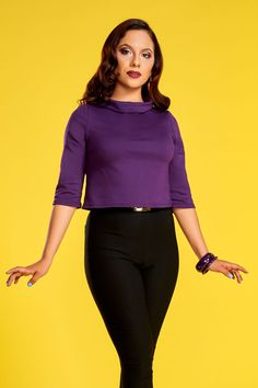 Laura Byrnes Jane Top in Purple | Retro Style Crop Top | Pinup Girl Clothing