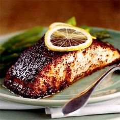 Barbecue Roasted Salmon- MADE THIS ONE - AWESOME!!! I used fresh pineapple and chopped it up, so gooood!! (Pineapple juice and brown sugar add sweetness while chili powder and cumin provide the traditional smoky flavor.)