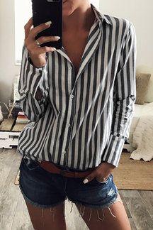 Stripe Shirt With Irregular Hem