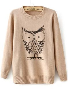 d9f751ce8 Apricot Long Sleeve Owl Print Knit Sweater Owl Cartoon, Owl Patterns, Owl  Print,