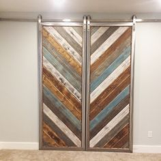 """Rustic modern sliding barn doors - SonOfPeterDesigns (@sonofpeterdesigns) on Instagram: """"Doors are hung! I loved how they turned out. I learned a lot in the process. What do you guys…"""""""