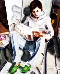 EP Reading (self-portrait) by Elizabeth Peyton Elizabeth Peyton, People Reading, Selfies, School Of Visual Arts, Art Station, Art Plastique, Drawing People, Portrait Art, Figure Painting