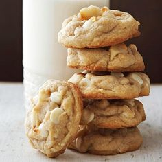 Macadamia nuts and white chocolate pieces are meant to be friends. The salty-sweet pair stars in this timeless cookie recipe featuring simple sugar cookie dough and buttery bites of soft vanilla flavor.