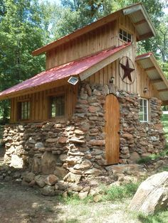 Little rock shack built from rocks picked up on property