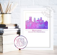 Minneapolis Art, Minneapolis Skyline Wall Art, Minneapolis Wall Art, Twin Cities Wall Art, Minneapolis Map Art, Minnesota Art One of the most stunning skylines west of the Mississippi! Enjoy this original design featuring some of the most iconic skyscrapers in the Downtown West