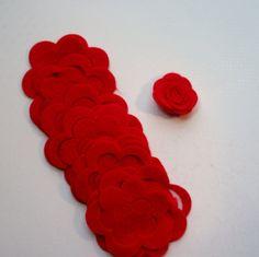 36 Die Cut Red Roses Felt Die cut roses felt rose  by WhimsyFelt