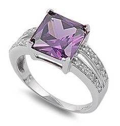 Pro Jewelry .925 Sterling Silver Amethyst Princess Cut w/ Clear Pave Side CZ Cocktail Ring All Sizes Available ** Be sure to check out this awesome product.