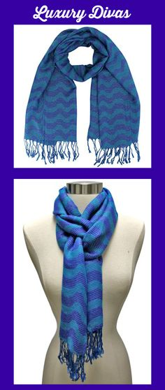 Teal Blue Two-Tone Wavy Metallic Striped Fringed Scarf Made by #Luxury Divas Color #Teal Blue. Worn as a scarf or wrapped as a shawl, this fringed scarf can be enjoyed all year long.. Eye-catching silver metallic threading runs throughout this stunning striped scarf.. This fashion scarf shawl features self-colored fringe trim.. S05048