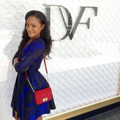 Brittany Hampton visits #DVFSantaMonica in the Valerie A-Line Wool and Silk Wrap Dress http://on.dvf.com/1hxTE8A