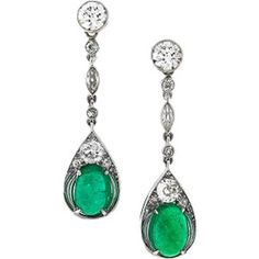 French Art Deco Diamond, Emerald and Platinum Earrings