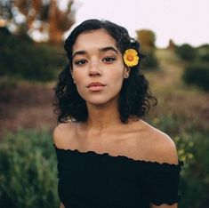 Dark hair girl | Flower in hair | Writing inspiration | Heroine