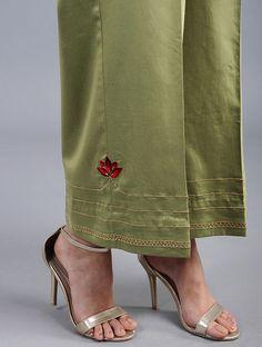 Green Embroidered Cotton Satin Palazzos with Zari Work Salwar Designs, Kurta Designs Women, Stylish Dress Designs, Designs For Dresses, Ladies Suits Indian, Salwar Pattern, Salwar Pants, Clothing Studio, Embroidery Suits Design