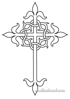 "Free hand embroidery pattern: Cross and crown of thorns, adapted from Thomas Brown & Son's catalogue of church embroidery designs from the early 1900′s, where it appears as a ""square"" cross (or a cross with equal length arms on all four sides). Design adapted by Mary Corbett of Needle 'n Thread."