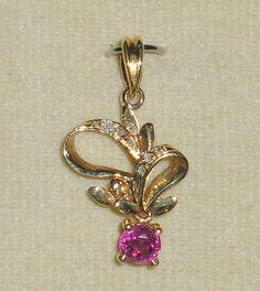 SOLID    14K    Gold    RUBY    Diamond    Pendant #Pendant