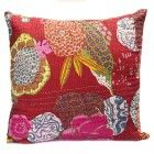 Red Hand Embroidered Floral Kantha Cushion