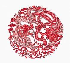 Chinese Kirigami Paper Cutting Dragon and Phoenix - Tattoo Thinks Tumblr Tattoo, Phönix Tattoo, Arrow Tattoo, Chinese Dragon Art, Chinese Dragon Tattoos, Chinese Art, Red Dragon Tattoo, Dragon Tattoo Designs, Kirigami