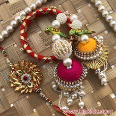 Designer Wooden Parrot Pair dangler Gota Work Bangle lumba n Rakhi Silk Thread Bangles Design, Silk Bangles, Handmade Rakhi Designs, Handmade Design, Diy Diwali Decorations, Handmade Decorations, Gift For Raksha Bandhan, Gota Patti Jewellery, Rakhi Making