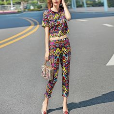 Europe and the United States the new spring pants suit tribes and dyeing restoring ancient ways round collar short sleeve blouse