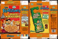 Side of Cereal Box | ... Tesco Cartoon Club - Flintstones Breakfast Boulders cereal box - 1992