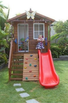 You can turn your backyard into a magical space where your children can enjoy plenty of fun activities. [Wooden Playhouse, Playhouse With Climbing Wall, Playhouse With Slide, Playhouse With Deck, Playground Ideas, Backyard Playground, Backyard Ideas, Wooden Playhouse Outdoor] #outdoorplayhouseideas