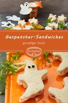 Sandwiches fantasma - Sandwiches fantasma: aperitivos con queso cheddar y atún # fiesta # espeluznante La mejo - Halloween Fingerfood, Halloween Snacks For Kids, Halloween Party Appetizers, Appetizers For Kids, Halloween Dinner, Snacks Für Party, Halloween Cupcakes, Halloween Treats, Appetizer Recipes