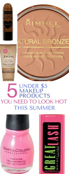 This is a list of 5 under $5 makeup products is THE BEST! Stick to your budget and save money. Grab your summer essentials now. via @makingmidlife