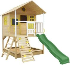 Timber Warrigal Kids Cubby House Set w/ Blue Slide - 9347166035783 For Sale, Buy from Cubby Houses collection at MyDeal for best discounts. Kids Cubby Houses, Kids Cubbies, Play Houses, Double Casement Windows, Sandpit Cover, Kids Slide, Window Well, Bebe