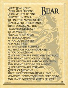 Bear Totem Prayer BOS Book of Shadows Page Wiccan Witchcraft Magick CHC in Collectibles, Religion & Spirituality, Wicca & Paganism Ours Grizzly, Bear Totem, Spirit Bear, Bear Spirit Animal, Bear Animal, Animal Spirit Guides, Animal Medicine, Native American Wisdom, American Spirit