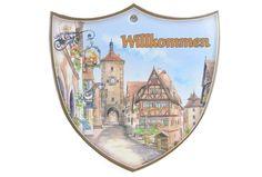 Ceramic Decoration Shield: Willkommen