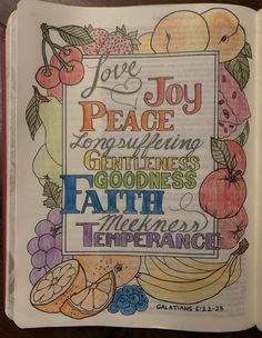 Bible Journaling The Fruits of the Spirt - My Creative Bible Bible Study Journal, Art Journaling, Bible Art, Bible Verses, Spirit Drawing, Galatians 5 22, Psalm 16, Bless The Lord, Spirited Art