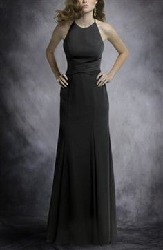 Chiffon Black A-Line Jewel Neckline Floor-Length with key hole back and spaghetti ties.  $71.40 during pre-summer sale.